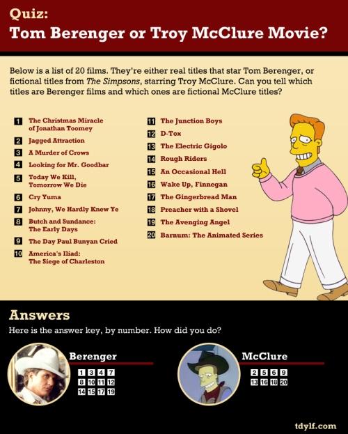 Quiz: Tom Berenger or Troy McClure Film Title?  
