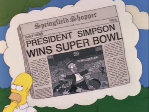Image result for president homer wins superbowl